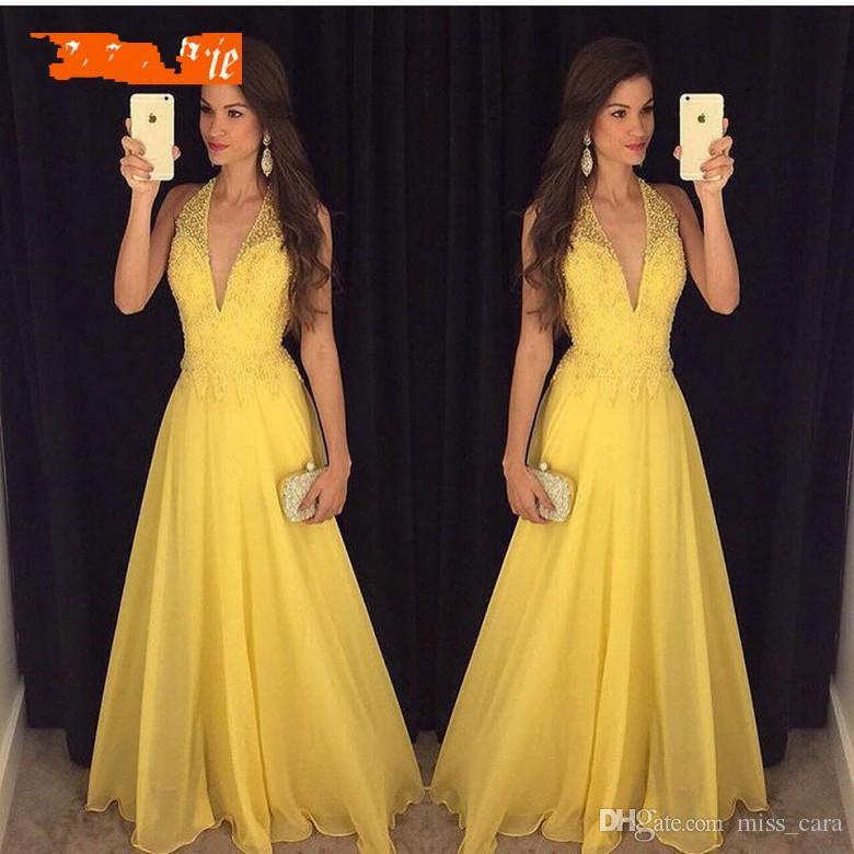 6b68ec0a986cc Satın Al Moda Sarı Gelinlik Modelleri 2019 Seksi Halter Abiye Giyim  Kadınlar Için Boncuklu Örgün V Yaka Şifon Backless Plaj Ucuz Parti Elbise,  ...