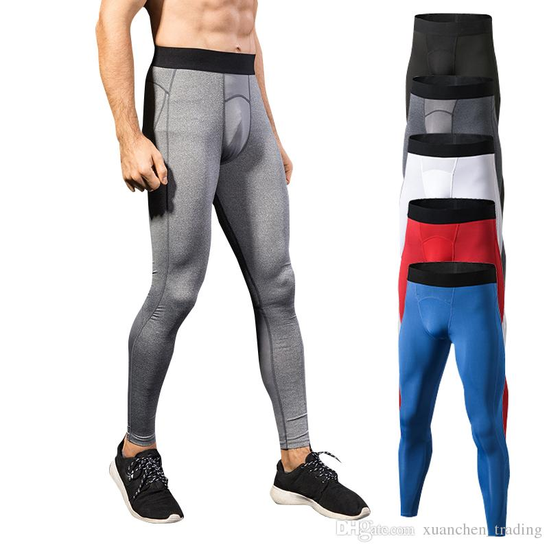 c02d91f57c9 2019 Men Sports Tight Long Pants Male Fitness Running Jogging Basketball  Leggings Mesh Splicing Quick Dry Gym Training Pants From Xuanchen trading