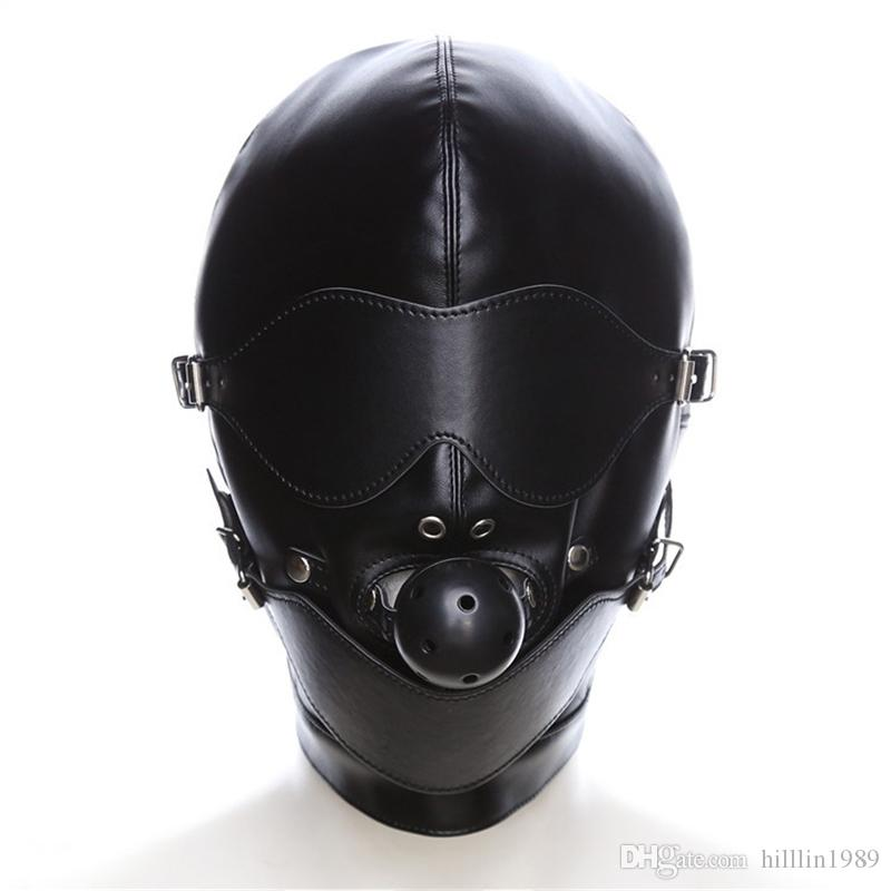 Black Erotic Latex Catsuit Mask PU Costume Accessories Lace Up SM Ball Cosplay Head Mask Fetish Sexy Party PU Headgear With Mouth Gag