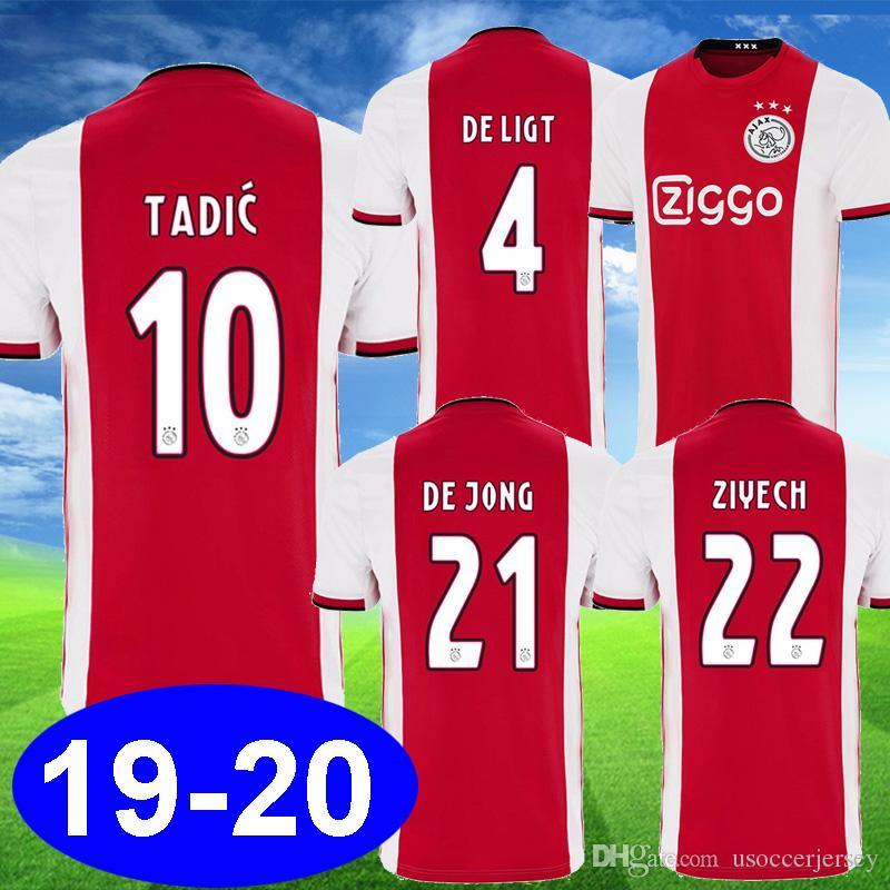963e7098bb8 2019 19 20 Ajax TADIC Soccer Jerseys DE LIGT DE JONG ZIYECH VOETBAL NERES  CRUYFF Football Kits 2019 2020 Ajax Equipments Camisa De Futebol From ...