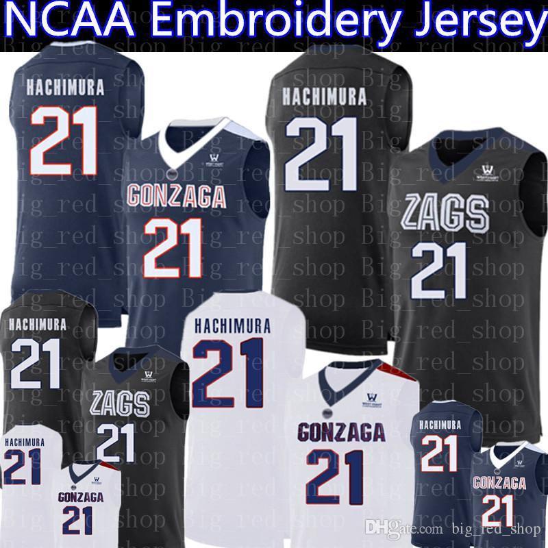 super popular bb955 0890c 21 Rui Hachimura Jersey 2019 NCAA Gonzaga Bulldogs College Basketball  Jerseys navy blue black white Embroidery Logos