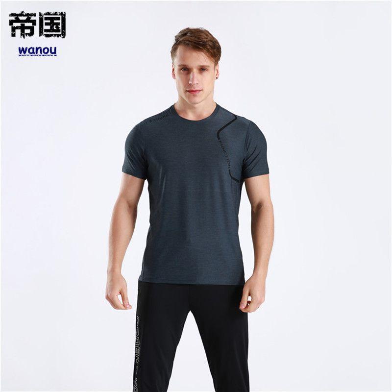 Summer Sportswear T Shirt Men New Fashion Dark Gray Fitness Sports