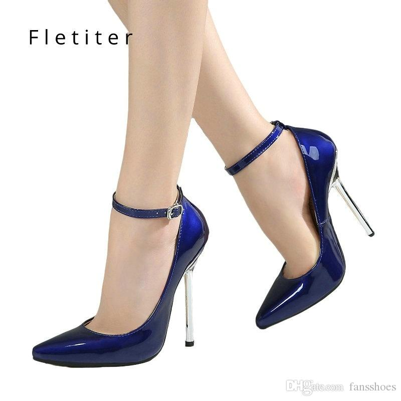 9e5d64f17027 Fletiter Shoes Women 12 Cm High Heels Pumps Leather Pointed Toe Women Pumps  Ladies Shoes Thin High Heel Large Size 43 44 #37577 Strappy Heels Geox Shoes  ...
