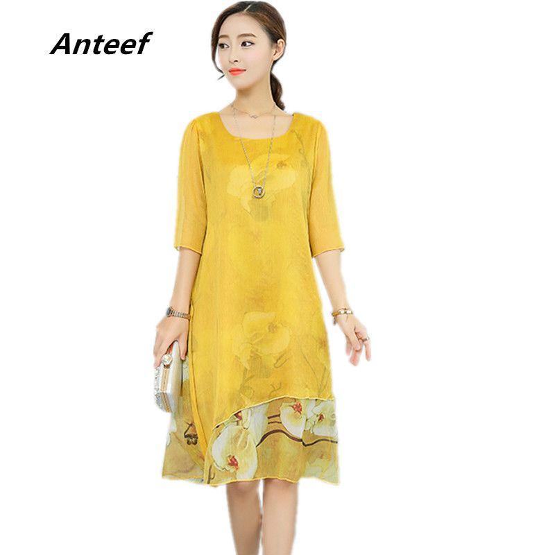 Anteef yellow chiffon silk vintage floral print plus size women casual long  loose summer dress vestidos femininos 2018 dresses