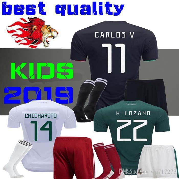 097a761ea 2019 Boys 2019 Gold Cup Mexico Soccer Jersey Kids Kit Black Mexico Home  Green Soccer Jerseys CHICHARITO Child Shirts Uniform H. LOZANO From  Wu717273
