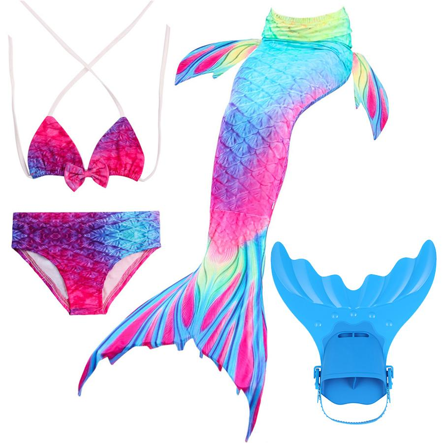 Mother & Kids 2019 Hot Kids Girls Mermaid Tails Costume With Fin Swimsuit Bikini Bathing Suit Dress For Girls With Flipper Monofin For Swim