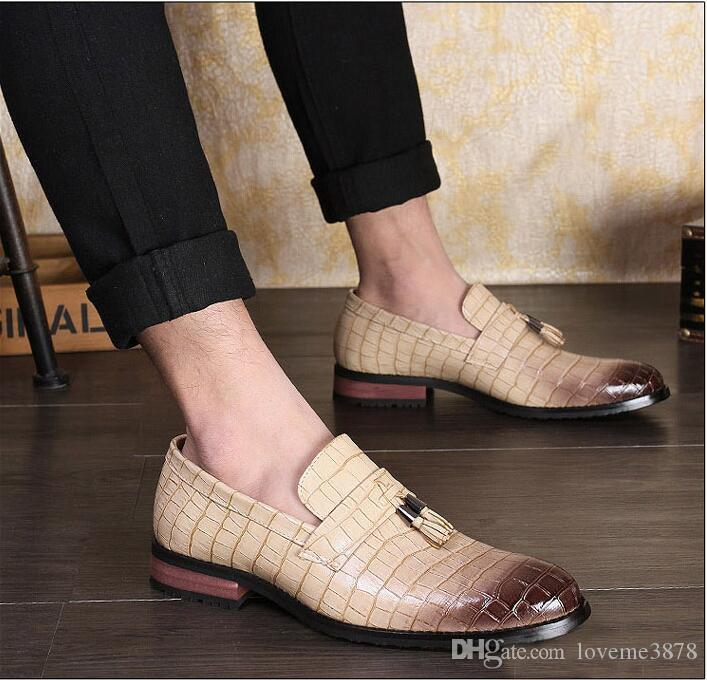 Fashion Pointed Toe Business Loafers Italian Style Wedding Patent Leather Oxford Shoes Men Formal For Men Dress Shoes