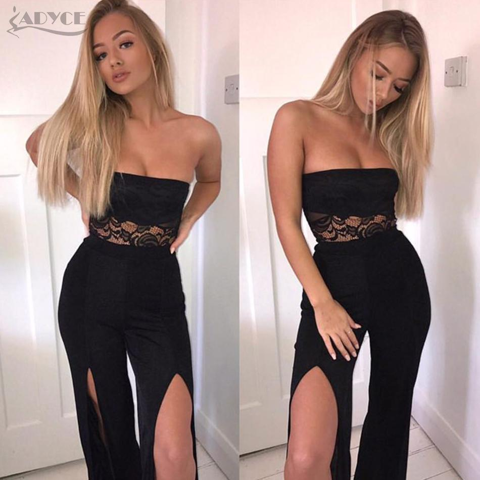 12f68e03 ADYCE 2018 Summer Women Celebrity Runway Jumpsuits Elegant Black Strapless  Lace Rompers Jumpsuit Sexy Bodycon Bodysuit Vestidos Sun Dress Cheap  Dresses ...
