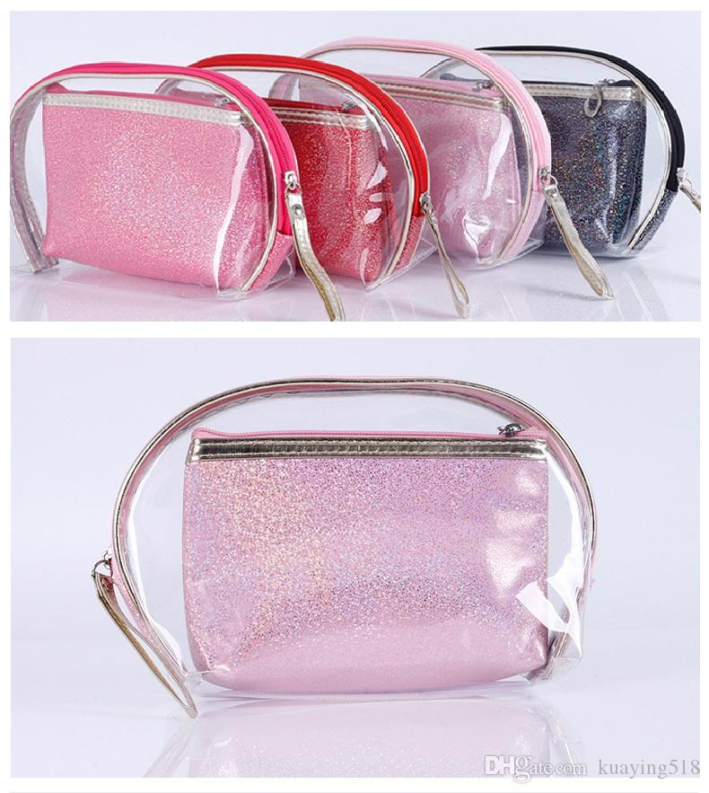 pvc bag sale Cosmetic Bags Makeup Case two-piece storage bag Explosion-proof waterproof pu cosmetics bag 4 colors