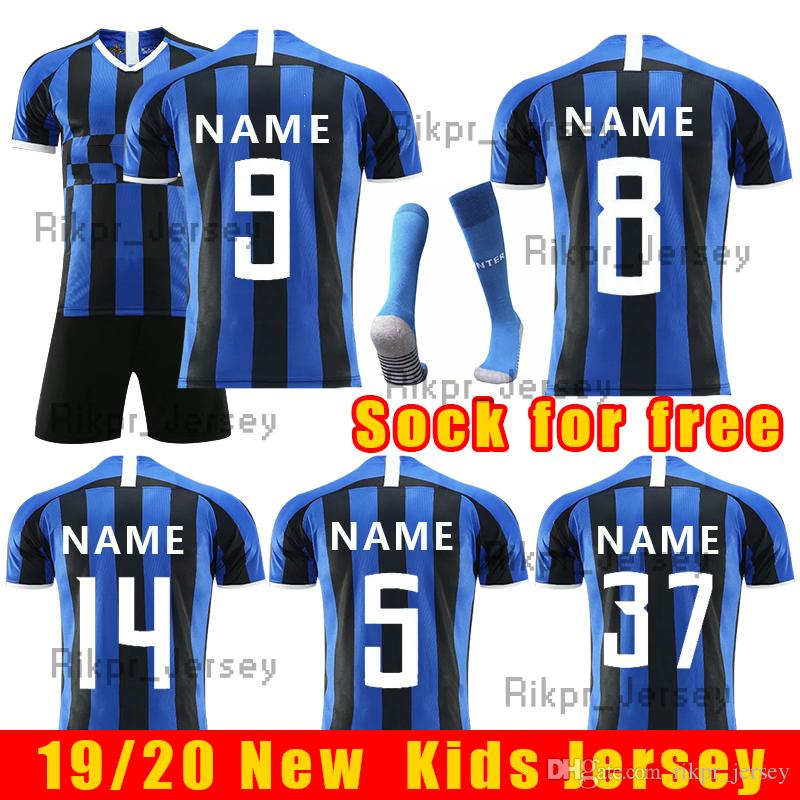 more photos 10c29 16f30 2019 kids children soccer jersey for Inter Milan home football shirts 19 20  ICARDI SKRINIAR RAFINHR men football jerseys uniform size 16-XL