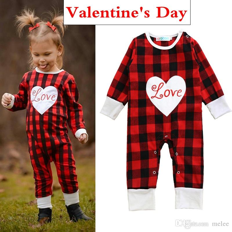 2c870aa9ddc2 2019 Valentine S Day Outfit Kidlove Baby Valentine S Day Romper Jumpsuit  Newborns Infant Valentine Red Plaid Romper Baby Boy Girl Clothes Rompers  From Melee ...