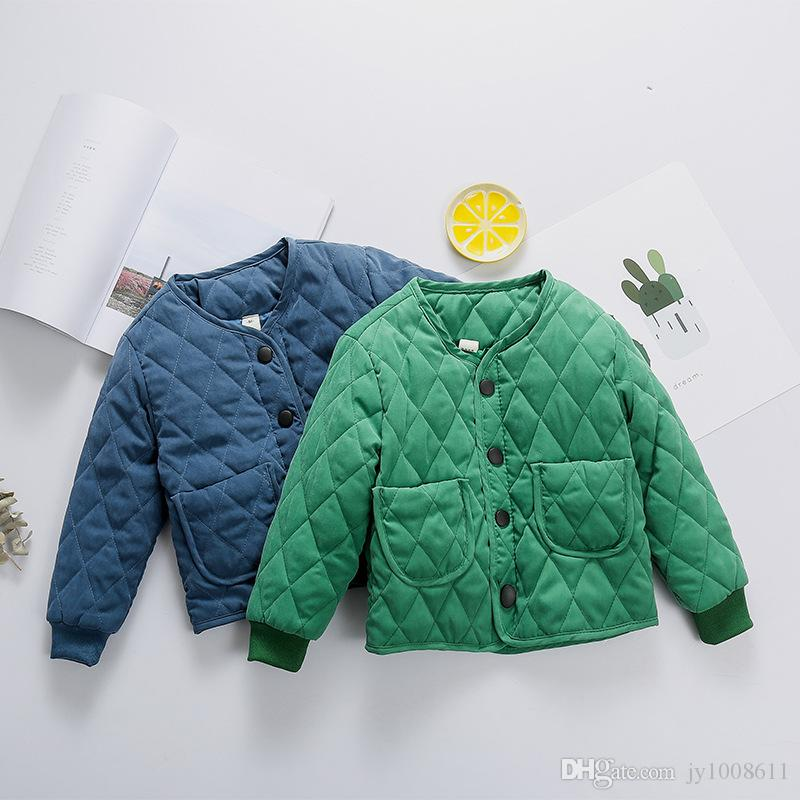 6353413a9099 A 011 Boys Cotton Coat 2018 Winter New Baby Cotton Clothes Girls Liner  Bread Korean Version Of The Warm Warm Plaid Jacket Toddler Boy Cardigan  Sweater Baby ...