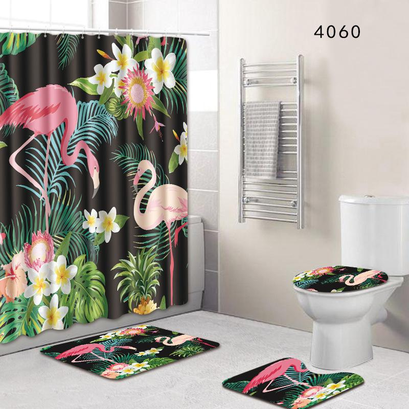 2019 Flamingo Shower Curtains Bath Mat Contour Rug Toilet Lid Cover Set Carpet Bathroom Anti Slip 50x80cm Mats Foot Pad C18113001 From Mingjing03