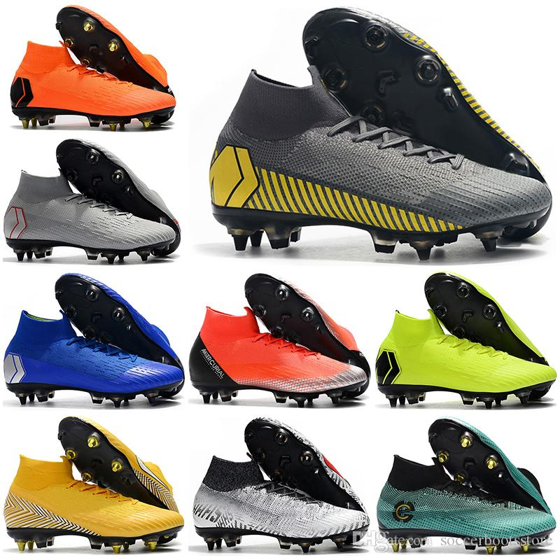outlet store 0ef0d 0735d Mens High Tops Football Boots Game Over Superfly 6 Elite SG Soccer Shoes  CR7 Mercurial Superfly VI 360 Neymar NJR ACC Soccer Cleats