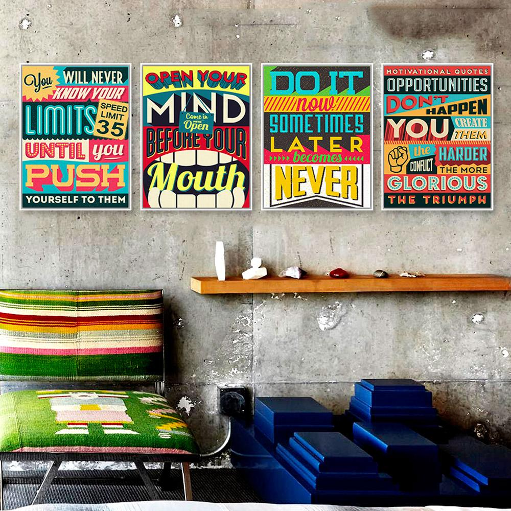 ome Decor Painting Calligraphy Inspiration Typography Motivation Quotes Vintage Poster Print Hippie Wall Art Picture Modern Bar Home Deco...