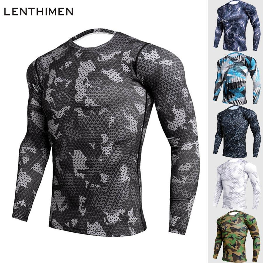 Crossfit Compression Sport Shirt Men Long Sleeve Camouflage Fitness ... 70dc5f1c7