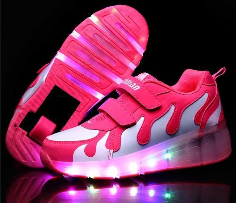 sports shoes 99882 5b842 Kinder Schuhe mit Licht Mit Rädern Skate Jungen und Mädchen Casual LED  Schuhe für Kinder 2018 LED leuchten 7 Farben Kinder Schuhe 28-35