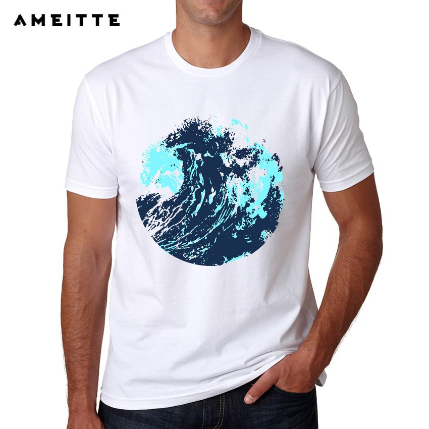 2019 Fashion Wave Ocean Art Design Camiseta Summer Abstract Impreso Camiseta Hombre Hipster Cool Manga corta Tee Tops