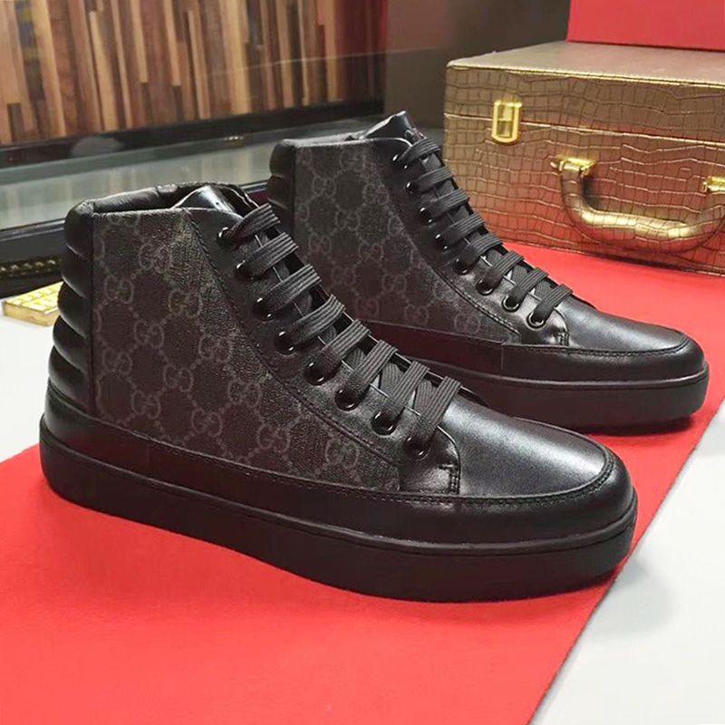 1c8b0706292 Men Casual Shoes High Top Fashion Leisure Athletic Chaussures De Sports  Pour Hommes Lace Up Mens Shoes Fashion Footwear Leather Big Size Shoes  Online ...