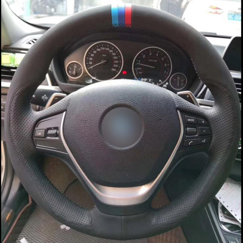 Black Suede Black Leather Light Blue Blue Red Marker Car Steering Wheel Cover for BMW F30 320i 328i 320d F20