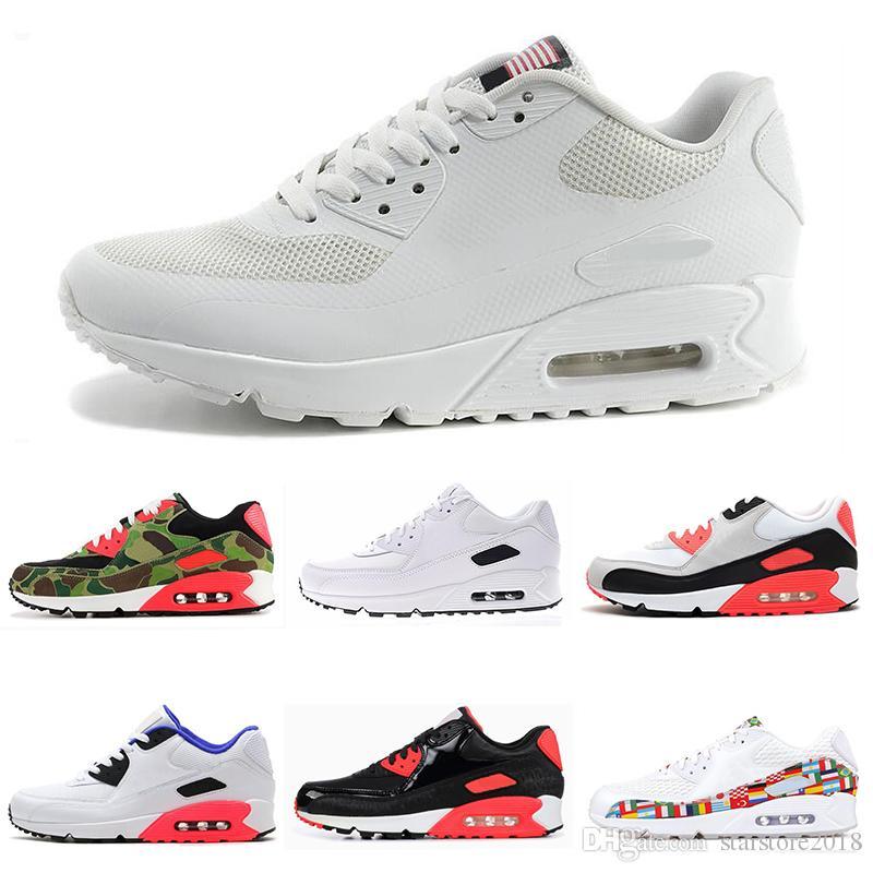 cb42b9de3ba5 2019 90 Mens Running Shoes Triple Black White USA Oreo BLACK CROC Men Women  Trainer Breathable Sports Shoes Size 36 45 From Starstore2018