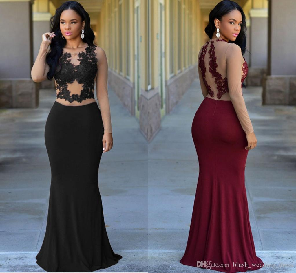 7de8924a1a6 Sexy Burgundy Mermaid Prom Dresses Crew Neck Nude Top Long Sleeve Lace  Appliqued Evening Dresses Cheap Custom Made DH154 Petite Evening Dresses Uk  Pregnancy ...