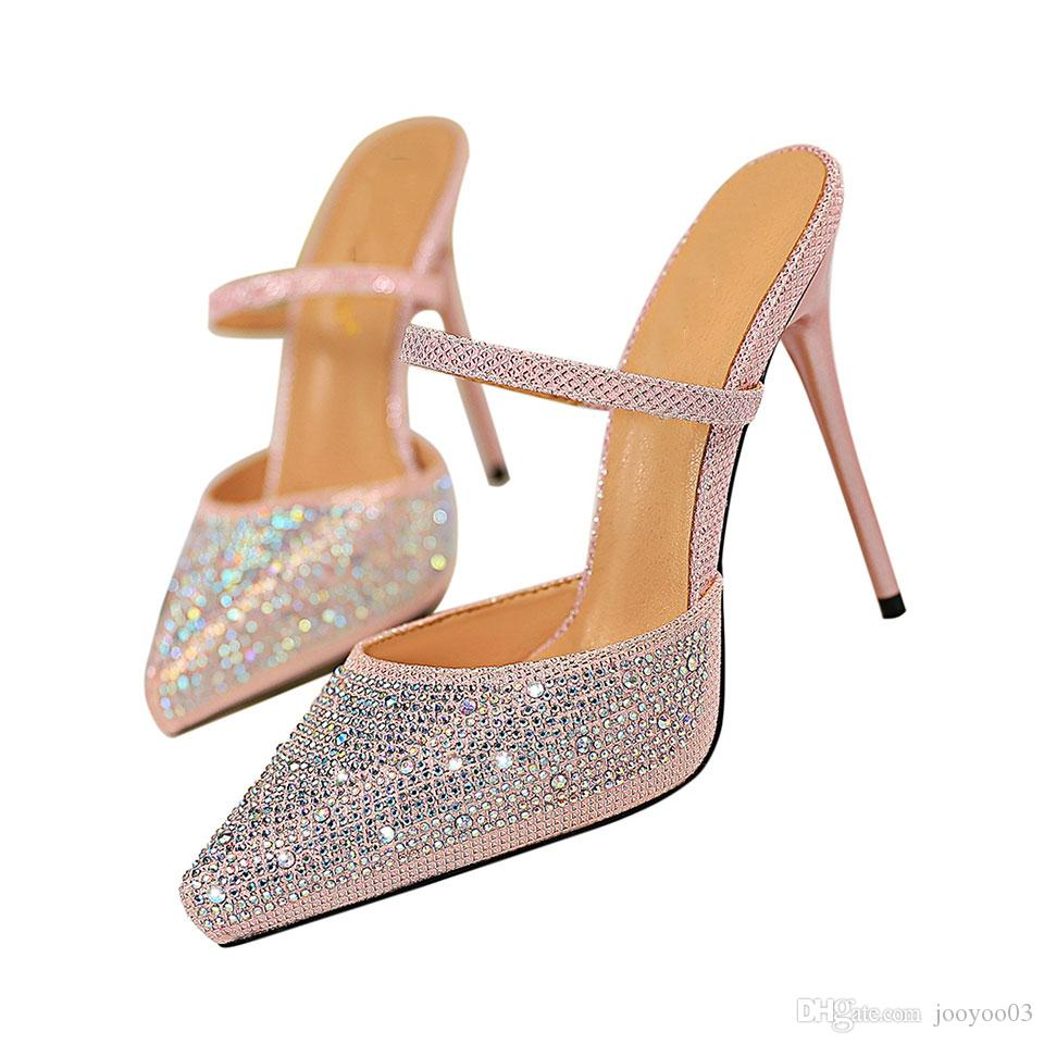 b03d3e8befa55a Acheter Sexy Femmes Chaussures Super Haut Talon Étanche Plate Forme Bouche  Peu Profonde Pointé Strass Mot Femme Sandales Pantoufles Jooyoo De $26.3 Du  ...