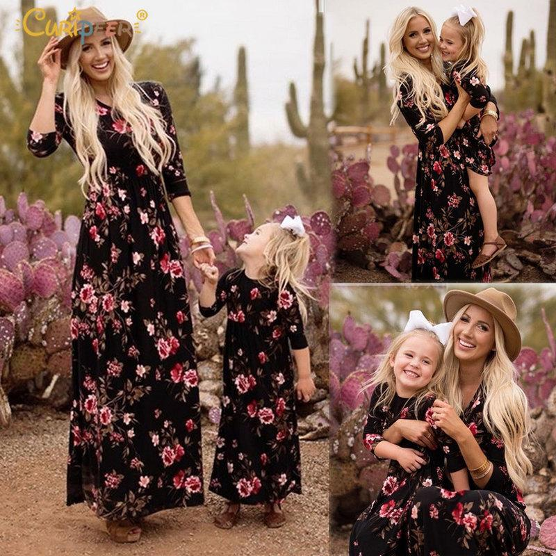 56d7517a8a Mother Daughter Dresses Navy Floral Long Vestidos Mother And ...