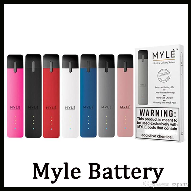 Myle Vape Device Kit 240mAh Rechargeable Battery With 7 Colors MYLE Vapor  Nic Delivery ND System Basic Vaping Kit 240 Puffs