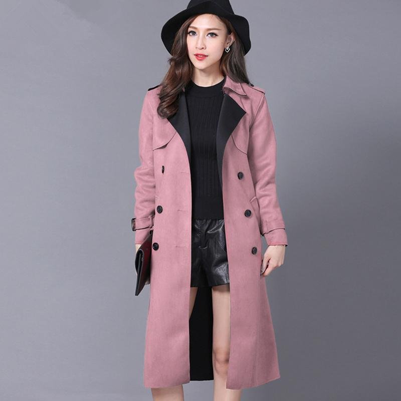 0472fb04cb391 Plus Size 6XL Suede Trench Coat For Women New Spring Double Breasted ...