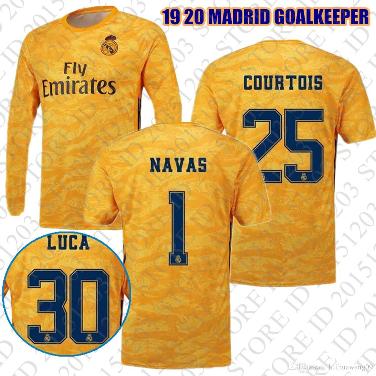 ab4f919f98 Camiseta De Mangas Largas 2019 2020 # 25 Courtois Goalkeeper Real Madrid  Yellow 1 Navas Camisetas De Fútbol Camiseta Keeper Jersey Camisetas De  Fútbol Por ...