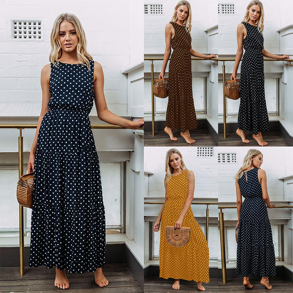 c0ccd941 2019 Women's Dresses hot Selling Spring and Summer Dress Polka Dot printed Button  maxi dress sleeveless womens clothes streetwear skirts