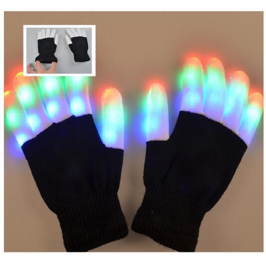 HALLOWEEN Flashing Light Up Hands Black with White Tip LED Gloves Rave Lights