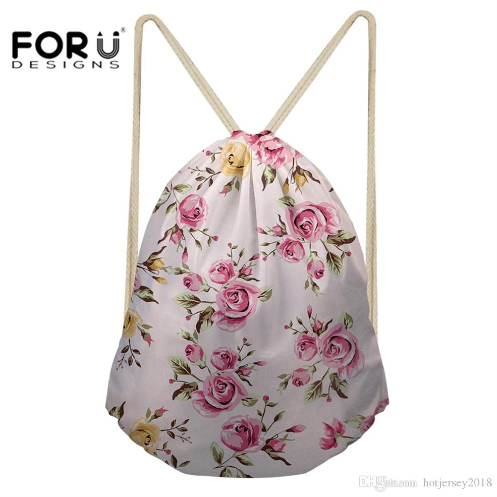 7bf712cc83 2019 FORUDESIGNS Drawstring Bag Small Sport Bag For Female Girls Fitness  And Training Yoga Flowers Printed Outdoor Gym Backpack  214534 From  Hotjersey2018