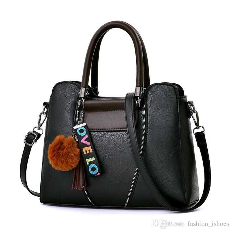 Hair ball shoulder bag lichee pattern handbag solid color ladies bag female Messenger large capacity fashion #203892