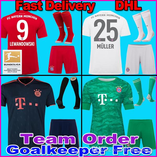 19 20 Bayern Munich PAVARD soccer jersey 2019 2020 LEWANDOWSKI MULLER HERNANDEZ KIMMICH football shirt Men adult kit goalkeeper sets socks