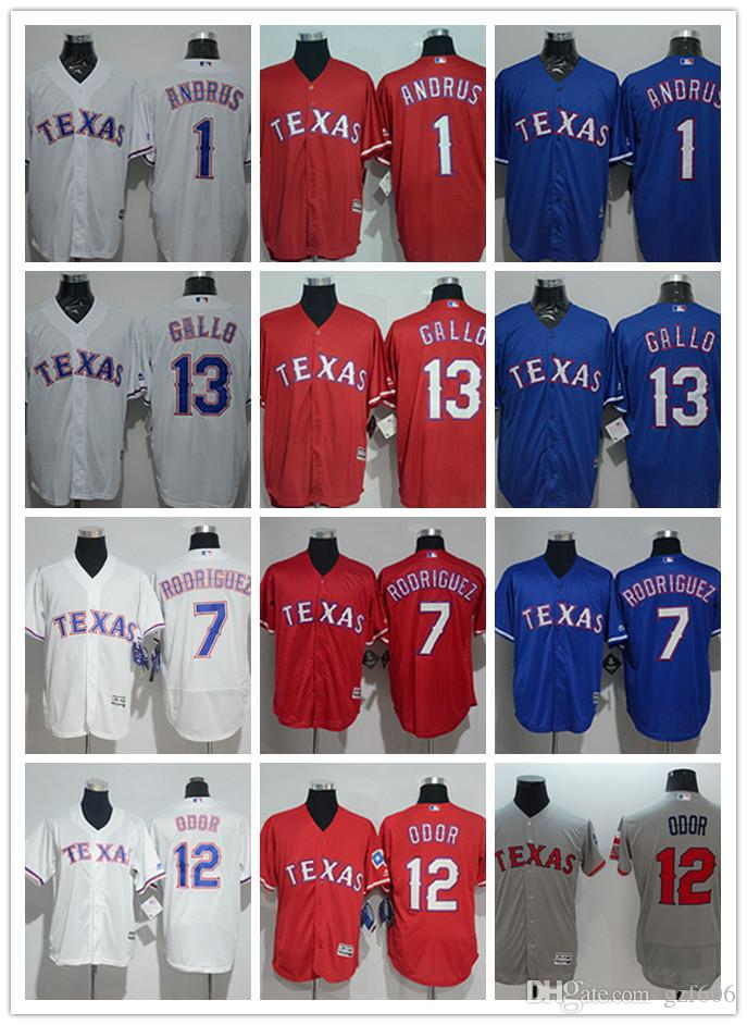 info for 34f3a d6f90 custom Men s women youth Texas Rangers Jersey #1 Elvis Andrus 7 Ivan  Rodriguez 12 Rougned Odor 13 Joey Gallo Blue Grey Baseball Jerseys