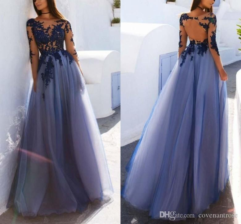 8daaf48cb9 New Arrival Sheer Neck Prom Dresses Long Sleeves Lace Applique Tulle 2019  Tulle A Line Evening Dress Party Wear Perfect Prom Dresses Plus Prom  Dresses 2015 ...