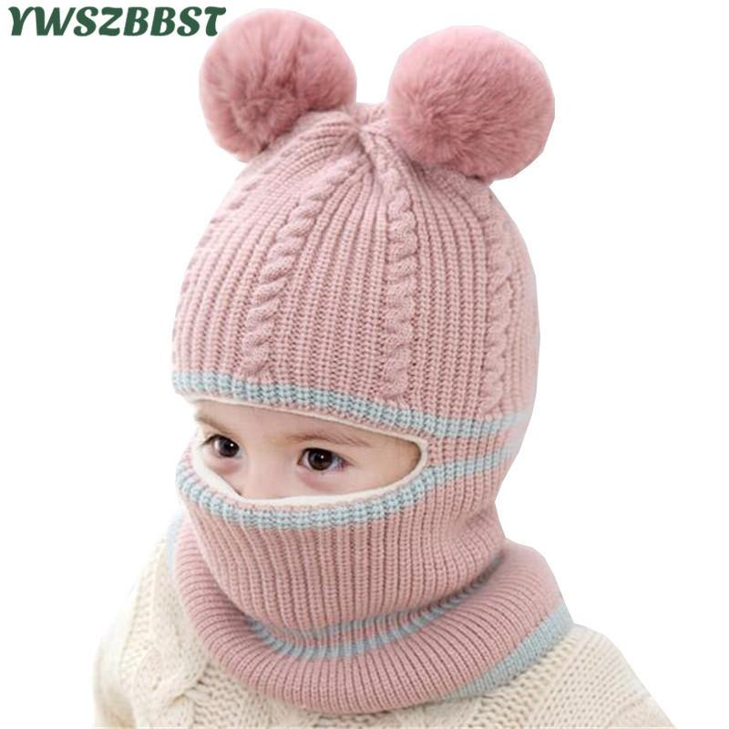 042a41e58 Fashion Baby Hats With Pompom Balls Crochet Baby Hat With Hooded Scarf  Children Cap Collar Scarf Autumn Winter Kids Baby Cap J190517