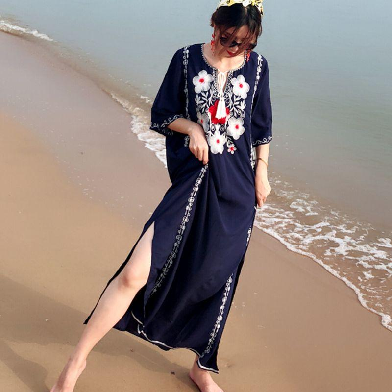 18774fae55 Women Sexy Cut Out V Neck Drawstring Kaftans Swimsuit Cover Up Floral  Embroidered Maxi Beach Dress Pullover Loose Long Robe Pretty Dresses Night  Dresses ...