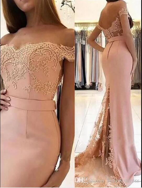 2019 Hot Sale Peach Pink Lace Evening Prom Dresses Mermaid Off The Shoulder Embroidered Special Occasion Dress Girls Formal Party Robes