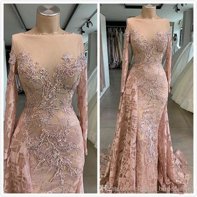Luxurious Sexy African Dubai Evening Dresses Sheer Neck Lace Beaded Prom Dresses Mermaid Vintage Formal Party Bridsmaid Graduation Dresses