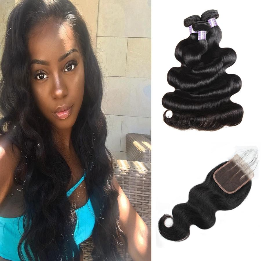 Malaysian Straight Brazilian Human Hair Bundles With Closure Water Wave Peruvian Hair Deep Loose Indian Virgin Hair Extensions Body Wave