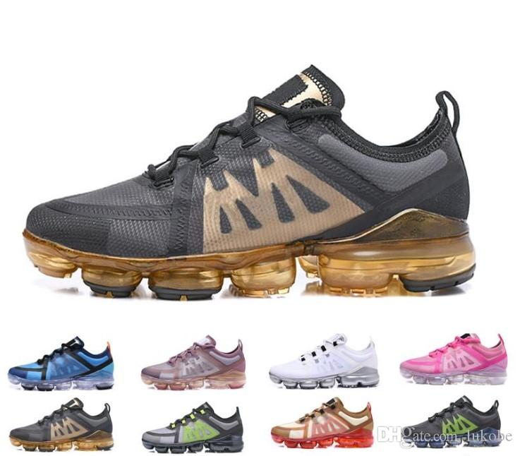 con caja Nike air max Vapormax Off white flyknit 2019 Zapatillas de running Run para hombre Tn Plus triple blanco negro Medio Burgundy Crush