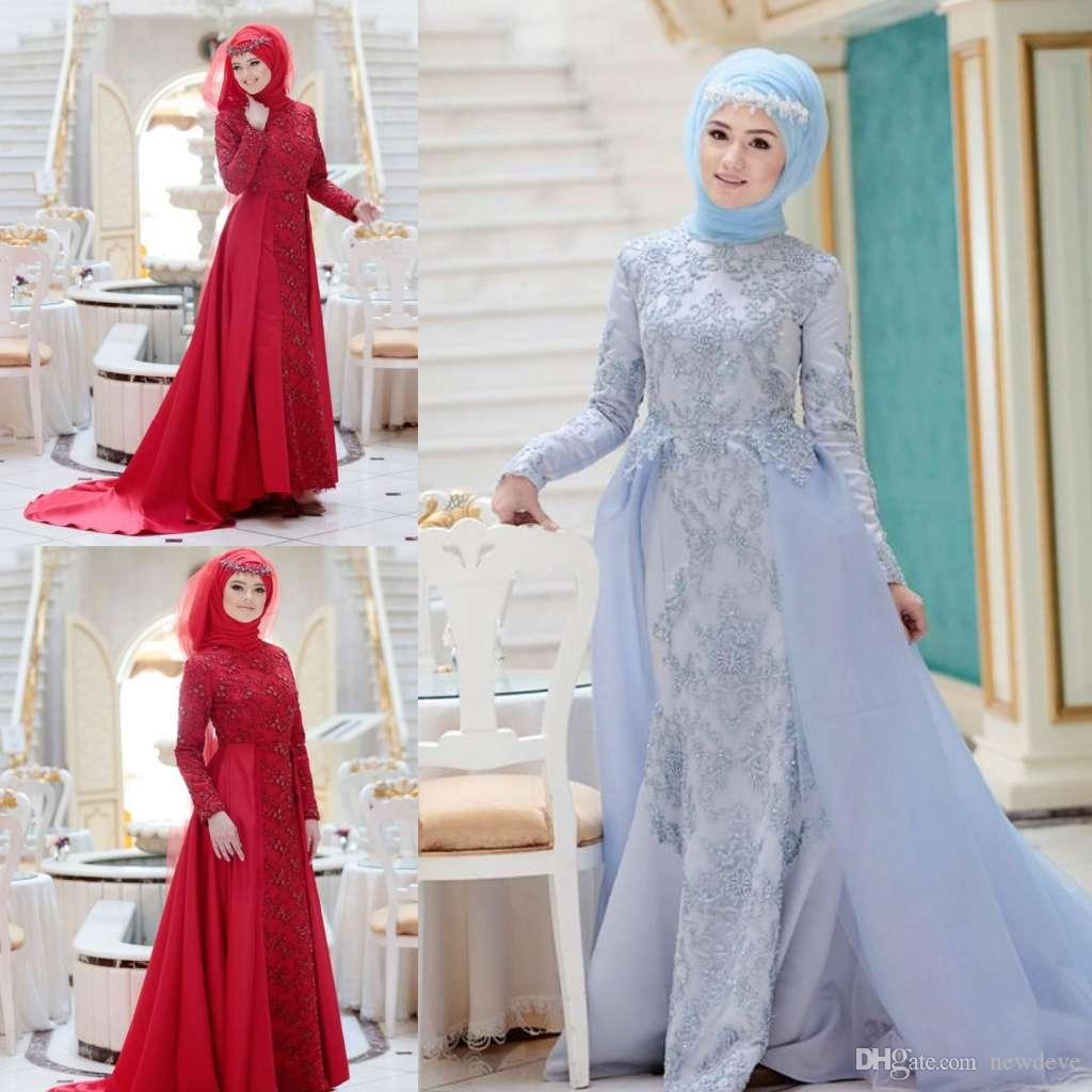 8f914f151e Muslim Evening Dresses 2019 with Detachable Train Long Sleeves Satin Formal  Hijab Islamic Dubai Kaftan Saudi Arabic Evening Gown