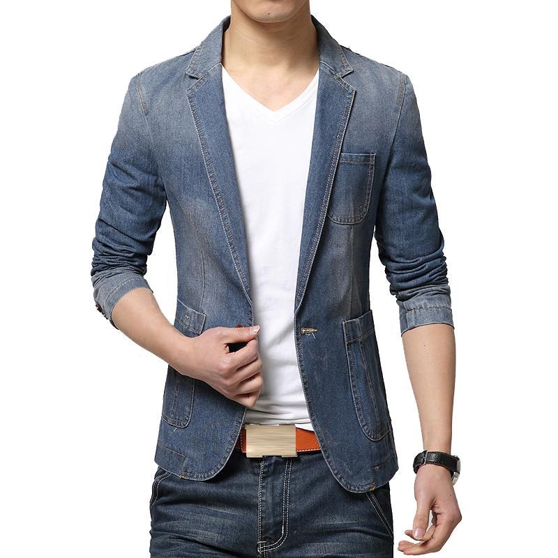 139a83e9d Nueva marca de moda para hombre Blazer Trend Jeans trajes traje casual Jean  Jacket hombres Slim Fit Denim Jacket hombres Casual Spring Slim Fit Coat