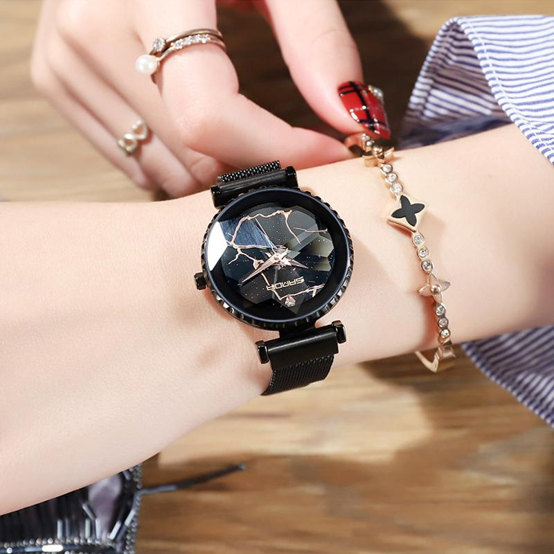 caac5cc66df Compre 2018 Moda Pulseira De Ouro Rosa Mulheres Relógios Ímã Elegante  Relógio De Quartzo Senhora Relógio Casual À Prova D  água Relógio De Pulso  De Luxo ...
