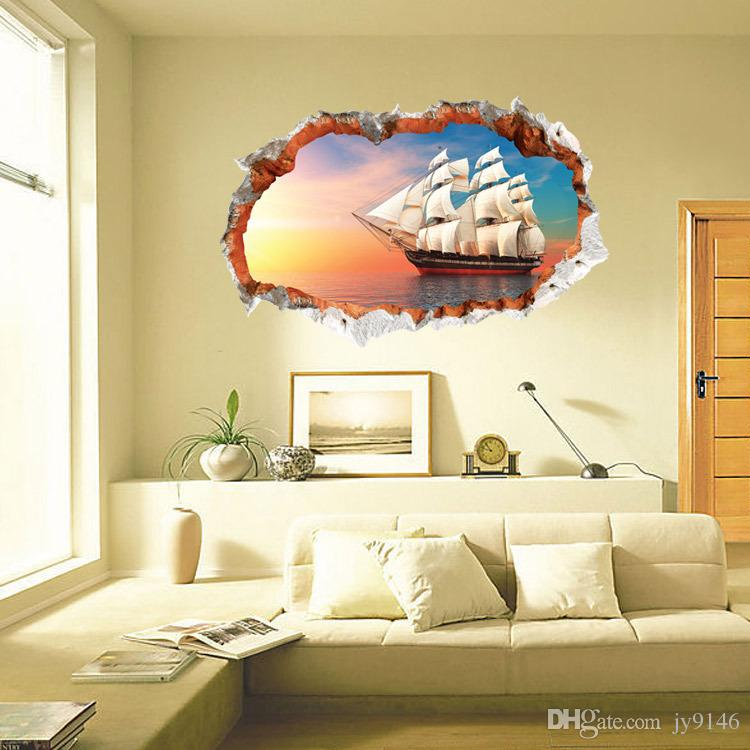 sailing sunset sea 3d broken wall vinyl art sticker self adhesive