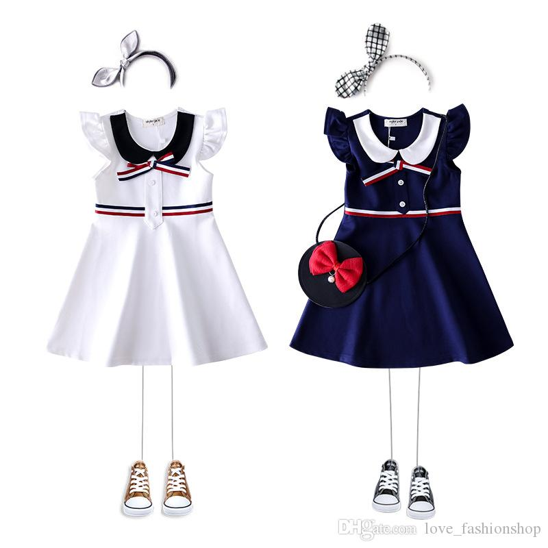 Retail girls dress with bow kids Sleeveless vest skirt baby cotton college skirt causual dress childrens boutique clothing