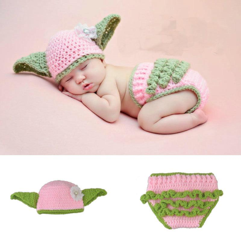 a80045059 Newborn Girls Yoda Costume Infant Baby Crochet Yoda Photography Props  Knitted Baby Clothing Newborn Shower Gift